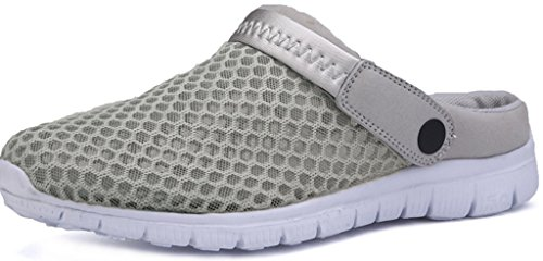 Eagsouni™ Unisex-Erwachsene Breathable Mesh Hausschuhe Sandalen Freizeit Clogs und Pantoletten Schuhe Sommer, Grau, 43 (Grau Mesh-schuhe)
