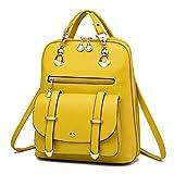 Eeayyygch Damen Rucksack Handtaschen Schulrucksack Daypack Laptop Tasche PU Leder gelb
