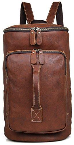 Everdoss Herren Echtes Leder Rucksack Schulrucksack von 15,6 Inch Laptop mit Mehreren Taschen Reisesporttasche Vintage Braun