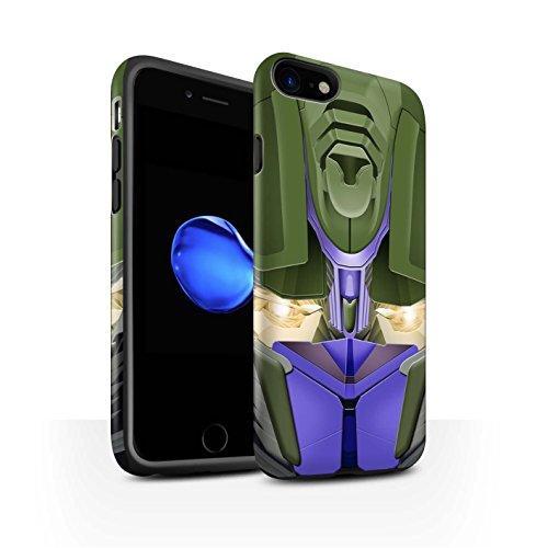 STUFF4 Matte Harten Stoßfest Hülle / Case für Apple iPhone 8 / Bumble-Bot Red Muster / Roboter Kollektion Opta-Bot Blau