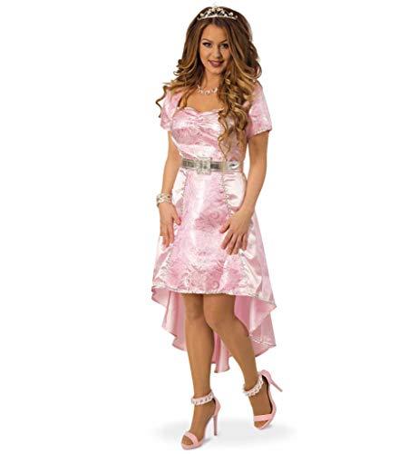 KarnevalsTeufel Damenkostüm Prinzessin, Königstocher, zauberhaft, Kleid in rosa mit Gürtel, Karneval, Mottoparty (36) (Rosa Barbie Kleid Für Erwachsene)
