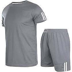 Aibrou Ropa Deportiva Chándales para Hombre Camisa Mangas Cortas Pantalon Chandales Hombre Cortos Conjunto Chandal Hombre Verano Gym Correr Trotar Caminar
