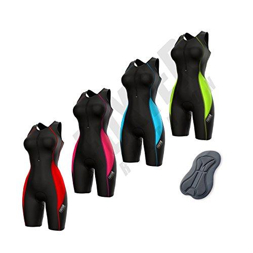 Foxter, enganliegender Triathlon-Anzug für Damen, gepolsterter Kompressionsanzug zum Laufen, Schwimmen und Fahrradfahren, Black/Neon Green, Large