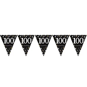 Amscan International-99017244m x 20cm oro celebración de 90º plástico banderín banderines