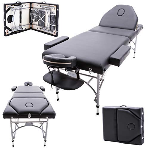 Massage Imperial® Caversham -Table de massage Portable pro luxe - Aluminum - Mousse 7cm - Couleur : Noir