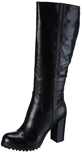 La Strada Schwarze lange Leder-Look Stiefel, Stivaletti a gamba lunga mod. Classics, imbottitura leggera donna, Nero (Schwarz (1901 - pu black)), 38