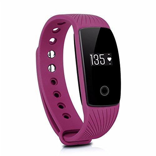 GINSY Fitness Armband Mit Pulsmesser Schlafmonitor Bluetooth Touch Display Sportuhr Smart Wristband Aktivitätstracker für iPhone Samsung IOS Android (Purple)