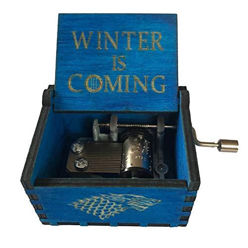 Kreatives Thema Holzschnitzerei Spieluhr, Retro Holz Antik Handkurbel Spieluhr Frohe Weihnachten Thema Handwerk Geschenk size Winter Is Coming