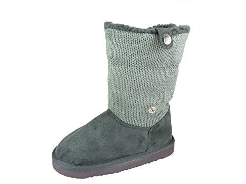 Bottes Bottines chaussettes fourrées chaudes pour fille 2 en 1 talon plat Gris