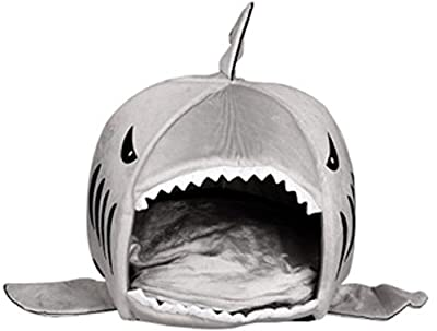 KiKa Monkey Removable soft Cushion Grey Shark Bed for Small Cat Dog Cave Bed Big shake,creative pet beds waterproof Bottom Most Lovely Pet House Gift for Pet