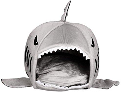 KiKa Monkey Cojín Extraíble Suave Cama De Tiburón Gris Para Gatos Pequeños Cama Cueva Para Perros Batido Grande Camas Creativas Para Mascotas Parte Inferior A Prueba De Agua Más Hermosa Casa De Mascotas Regalo Para Mascotas (M, Tiburón)