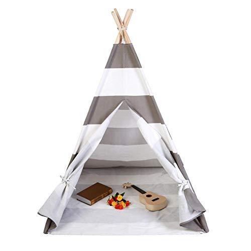 Tenda Indiana Tepee da Gioco per Bambini,Bambini Indiani Attivo Stampa e tintura di Cotone Tela Tenda,indiano Cotton Canvas Teepee tenda del gioco per i bambini,120X120X145cm (grigio e bianco)