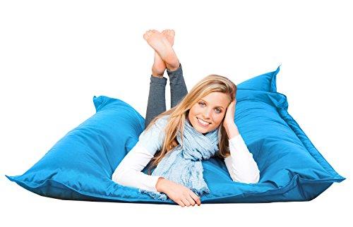 FETTI Sitzsack türkis in 140 x 180 cm mit Füllung | Riesensitzsack | Indoor | Outdoor | XXL Sitzsack | Riesenkissen | Sitzkissen
