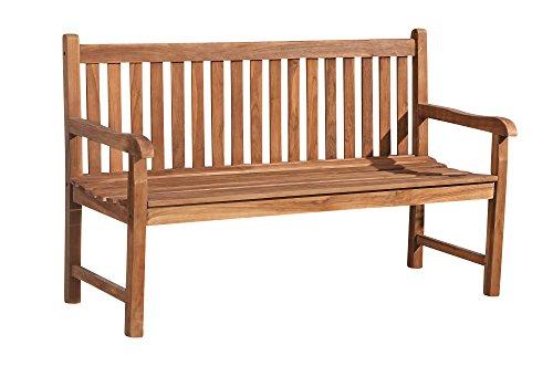 CLP Teakholz-Gartenbank Calypso V2 mit Lehne I Holzbank für Den Garten I Sitzbank mit Armlehnen I in Verschiedenen Größen Wählbar 220x64 cm