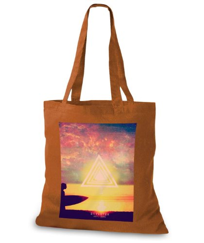 StyloBags Jutebeutel / Tasche Sunset Surfer Triangle Choco