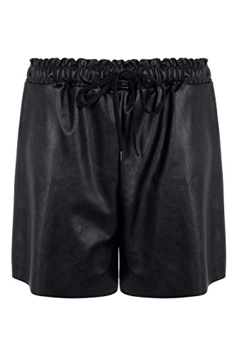 Noir Femmes Linda Faux cuir Shorts de longueur plus Noir