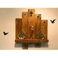 Handmade wooden shelf candle holder rustic farmhouse wall wood art hanging decor key hall home shelving rack vintage dark oak religion cross