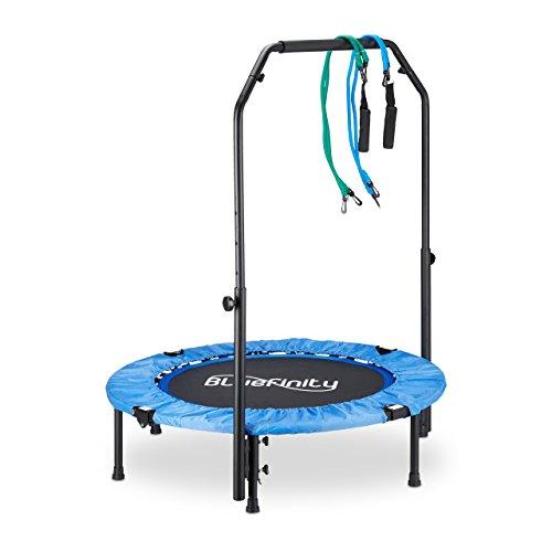 Bluefinity Trampolin mit Stange, Minitrampolin faltbar, Expander & Tasche, klein, HxBxT: 121 x 102 x 102 cm, blau/schwarz