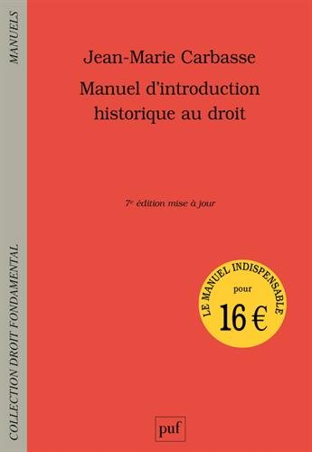 Manuel d'introduction historique au droit par Jean-Marie Carbasse
