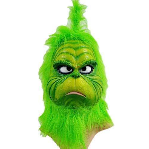 (1Buy Die Weihnachten Cosplay Grinch Maske, lustiges grünes schmelzendes Gesicht Latex Weihnachten Geek Filme Cosplay Kopfbedeckungen, Scary Mask Spielzeug Helm Requisiten Weihnachtsdekorationen)