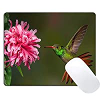 Muccum Gaming Mouse Pad Custom Design, Cute Hummingbird and Pink Flowers Pattern, Non-Slip Thick Rubber Large Mousepad Mat