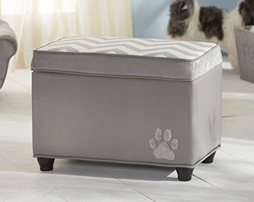 Hochwertige Aufbewahrungsbox, mit Deckel für Hunde-Spielzeug o.ä., grau-weiß, ca. Maße: B54,6 H39,4 T34,3 cm