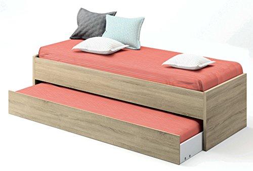Abitti Cama Nido de Dormitorio Juvenil Color Cambrian, somier Inferior Incluido, para colchones de 190x90cm. 202cm Ancho x 97cm Fondo x 54cm Altura
