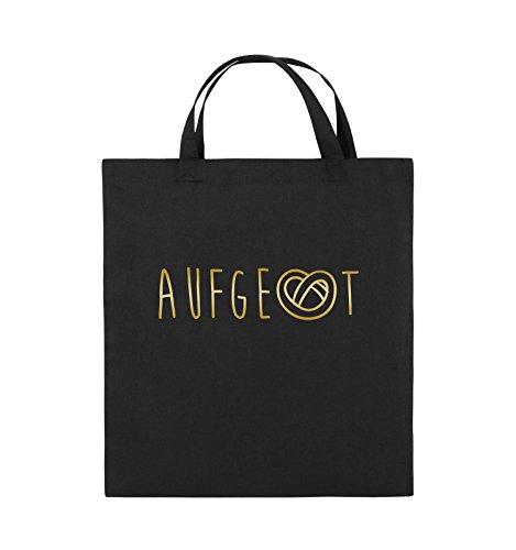Comedy Bags - AUFGEBREZELT Oktoberfest - Jutebeutel - kurze Henkel - 38x42cm - Farbe: Schwarz / Pink Schwarz / Gold