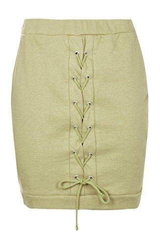 Khaki Damen Sloane Lässiger Rock Mit Schnürung Und Flottfäden Khaki