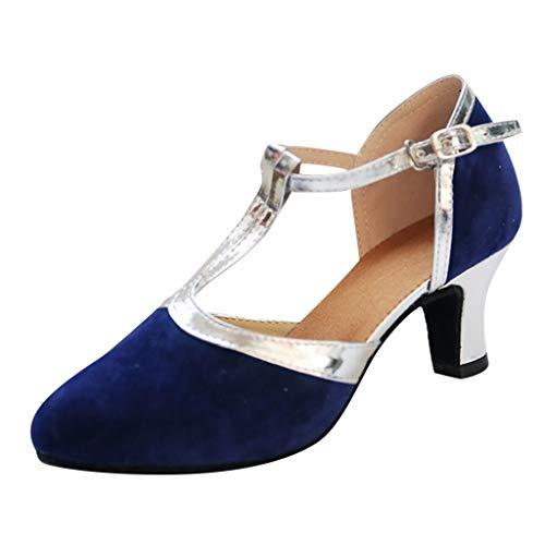 Mymyguoe Damen Tanzschuhe Standard Frauen Mary Jane Halbschuhe Geschlossene Zehe Tanzschuhe Latein Ballschuhe Salsa Tango Tanzen Schuhe 5cm High Heels Pumps Sandaletten Sommer