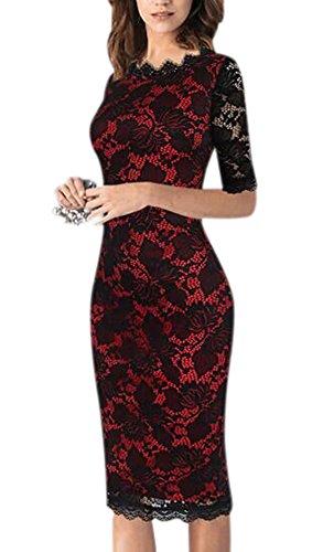 Minetom Femmes été Robe Vintage Floral Dentelle Bodycon Manche Courte Robe de Plage Party Cocktail Dress Rouge