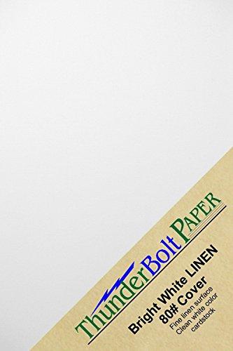 Thunderbolt Papier 100Bright White Linen 80# Cover Papier Blätter-11,4x 16,5cm Einladung 1/5,1cm Kleiner als 5x 7Größe-80LB/Pfund Karte Gewicht-Fine Linen, Strukturierte Oberfläche (Druckbare Farbe Blätter)