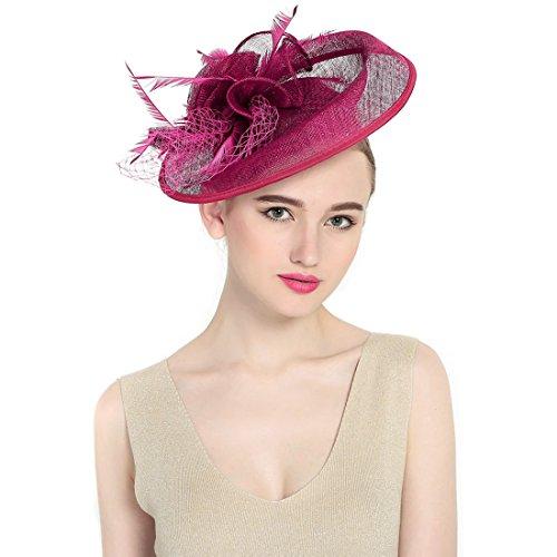 KAXIDY Femme Chapeau de Cérémonie Chapeau Voilette Mariage Cheveux Pour Mariées Fête Rouge-Violet