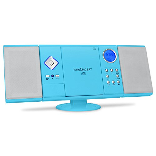 oneConcept V-12 Impianto Stereo HiFi mini (radio FM, lettore CD, lettore MP3, ingressi USB e SD, ingresso Aux, display LCD) - azzurro