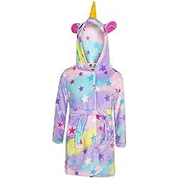 A2Z 4 Kids® Filles Garçons Peignoir Enfants Nouveauté 3D Animal Doux Court À Capuche - Bathrobe Unicorn Stars Print 3-4