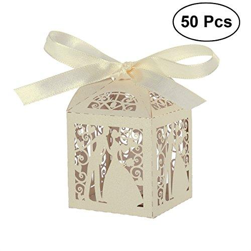 SUPVOX 50 stücke Hochzeit süßigkeiten süßigkeiten Geschenk bevorzugungskästen mit Band tischdekorationen für Hochzeit Valentines Tag (Süßigkeiten-boxen Für Den Valentines Tag)