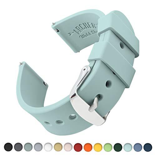 Archer Watch Straps | Repuesto de Correa Reloj de Silicona para Hombre y Mujer, Caucho Fácil de Abrochar para Relojes y Smartwatch | Azul Bebé, 18mm