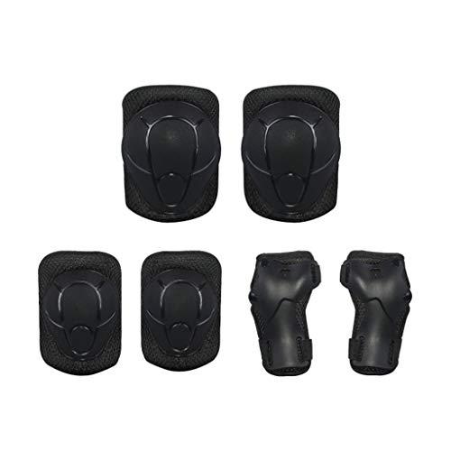 Schutzausrüstung Skating Protective Gear - Kniepolster, Ellbogenschutz, Armschienen, Eislaufen, Balance Car, Sportpaket, 6-teiliges Set, Kinder (Color : Black)