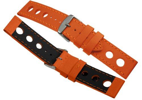 Davis B0323 - Armband Uhr Racing Leder Perforiert Orange 24mm Hochwertige Qualität