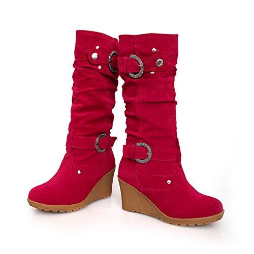 AllhqFashion Damen Mattglasbirne Ziehen Auf Rund Zehe Hoher Absatz Mitte-Spitze Stiefel Rot