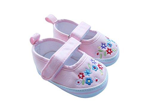 Mabini - Chaussures à Velcro pour bébé - broderies motif floral - fille Rose