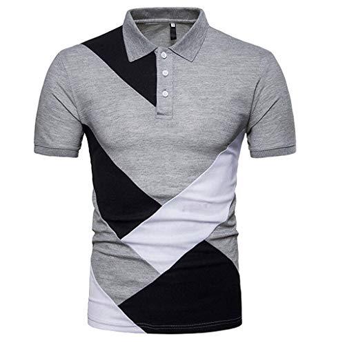 B-commerce Herren Mode Mann Kleidung Für Sommer Persönlichkeit männer Casual Dünne Kurzarm Patchwork Farbe T-Shirt Button Stehkragen Top