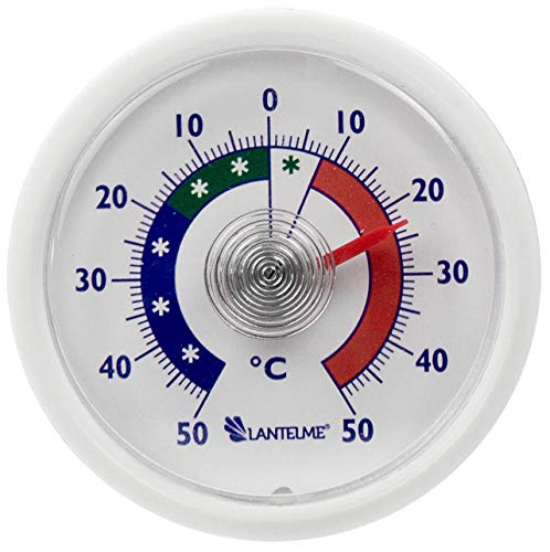 Lantelme Klebe Kühlschrankthermometer Bimetall Analog Kühlschrank Gefrierschrank Kühltruhe Thermometer weiss 2456