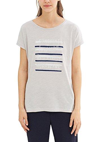 edc by Esprit 047cc1k002, T-Shirt Femme Gris (Light Grey)