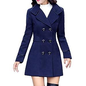41%2BQY38SRrL. SS300  - Damen Zweireiher Wollmantel Elegante Arbeits Anzug Jacke FRAUIT Frauen Knopf Stehkragen Einfarbig Zwei Taschen Elegant und Modisch Schlack Trenchcoat Mantel Wintermantel Outwear