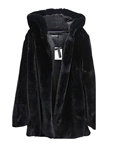Mujer Color Sólido Abrigo Largo Chaqueta Encapuchado Calidez Manga Larga Negro M