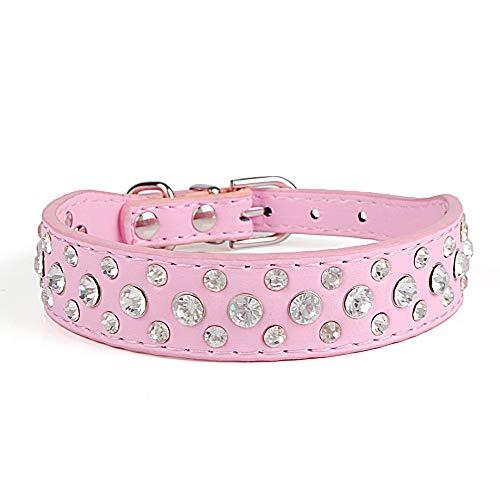 ALiYangYang Diamant besetztes Hundehalsband Breites Lederhalsband mit DREI Kristallreihen zur Dekoration von Geschenken für Haustiere,Pink,XS