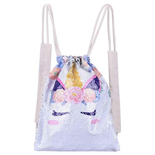 YoungRich Mermaid Pailletten Rucksack Einhorn Drawstring Bag Tasche Mode Sporttasche Glitzer Rucksack Pailletten Tasche Tunnelzug für Rucksack Mädchen Weiß 17.7×13.8×0.4 inch -