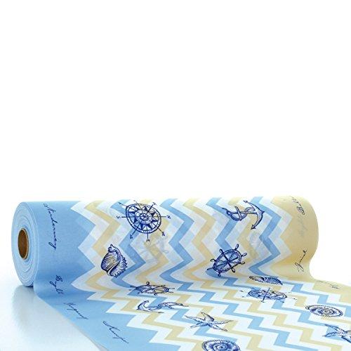 Sovie HORECA Tischläufer Maritim | Linclass® Airlaid Tischläufer 40cm x 24m | Tischdecken-Rolle stoffähnlich | Einmal-Tischdecke für Hochzeit & Partys Blau
