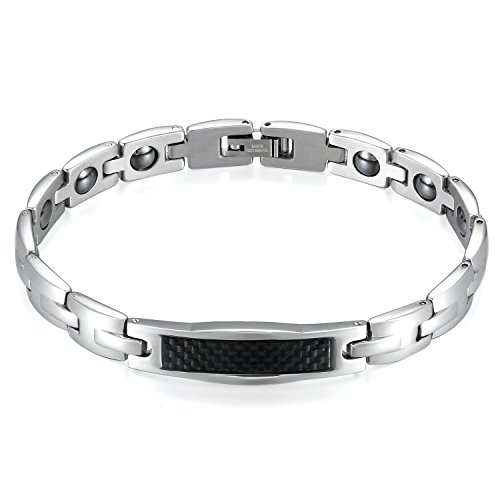 JewelryWe Schmuck Herren Magnetarmband, Lieben Freundschaftsarmband, Magnet Partner Armband aus Edelstahl Kohlenstoff Faser, Schwarz Silber, kostenlos Gravur